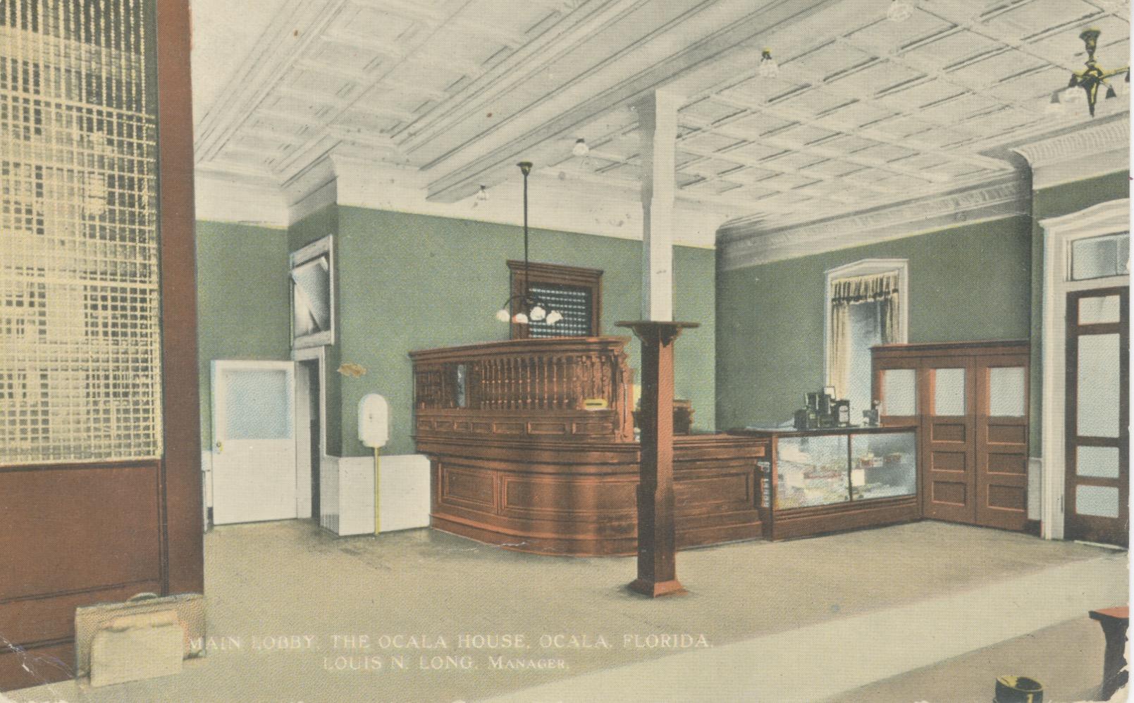 Main Lobby of the Ocala House hotel circa 1899